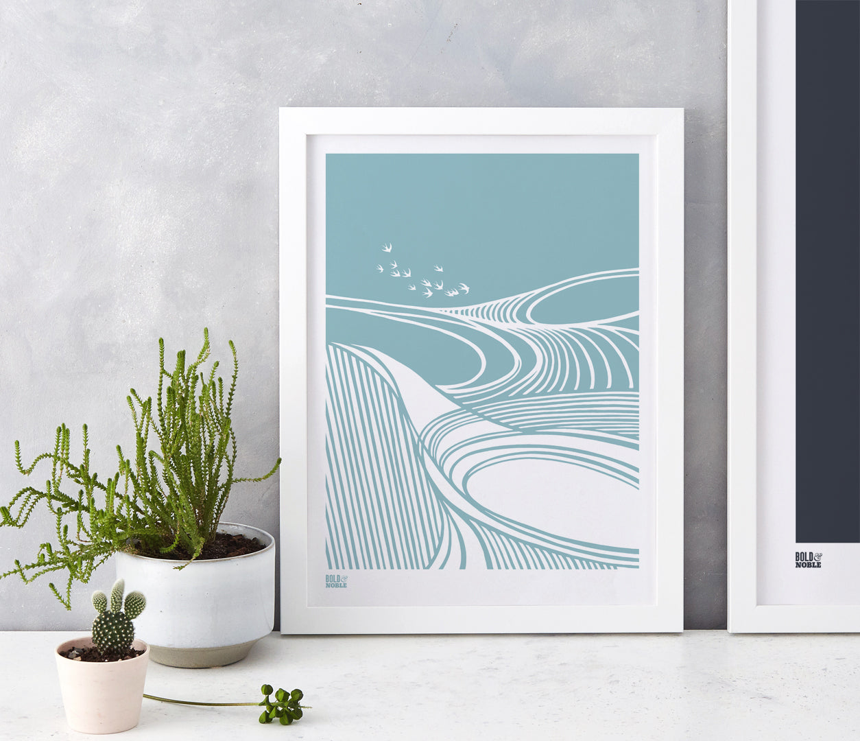 Harvest Fields Print in Coastal Blue, printed on recycled card, delivered worldwide
