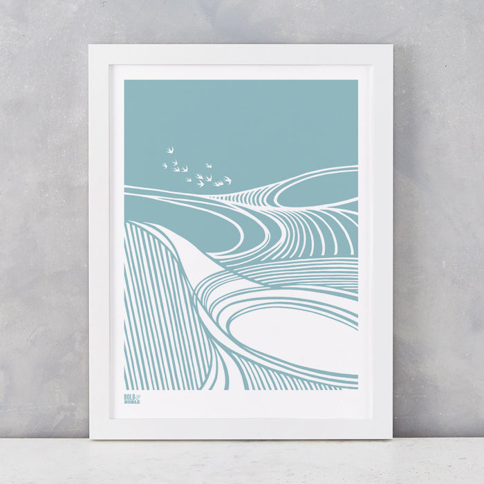 Harvest Field 'Swallows' Art Print in Coastal Blue