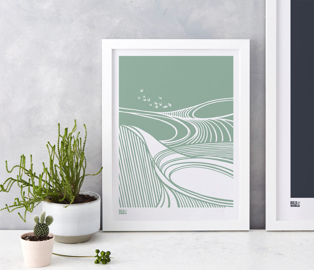 Harvest Fields Print in Seafoam Green, printed on recycled card, delivered worldwide