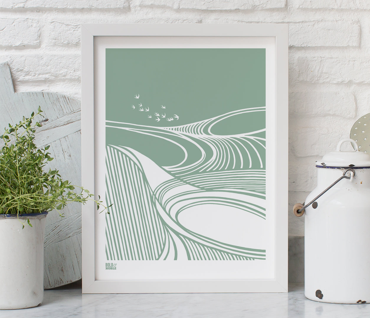Harvest Field 'Swallows' Art Print in Seafoam Green