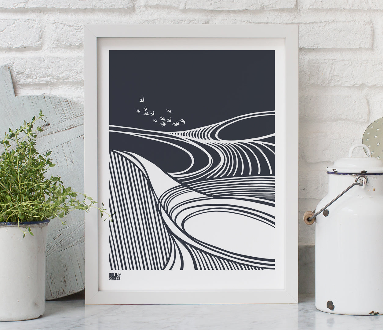 Harvest Fields Print in Sheer Slate, printed on recycled card, delivered worldwide
