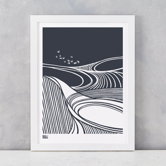 Harvest Field 'Swallows' Art Print in Sheer Slate