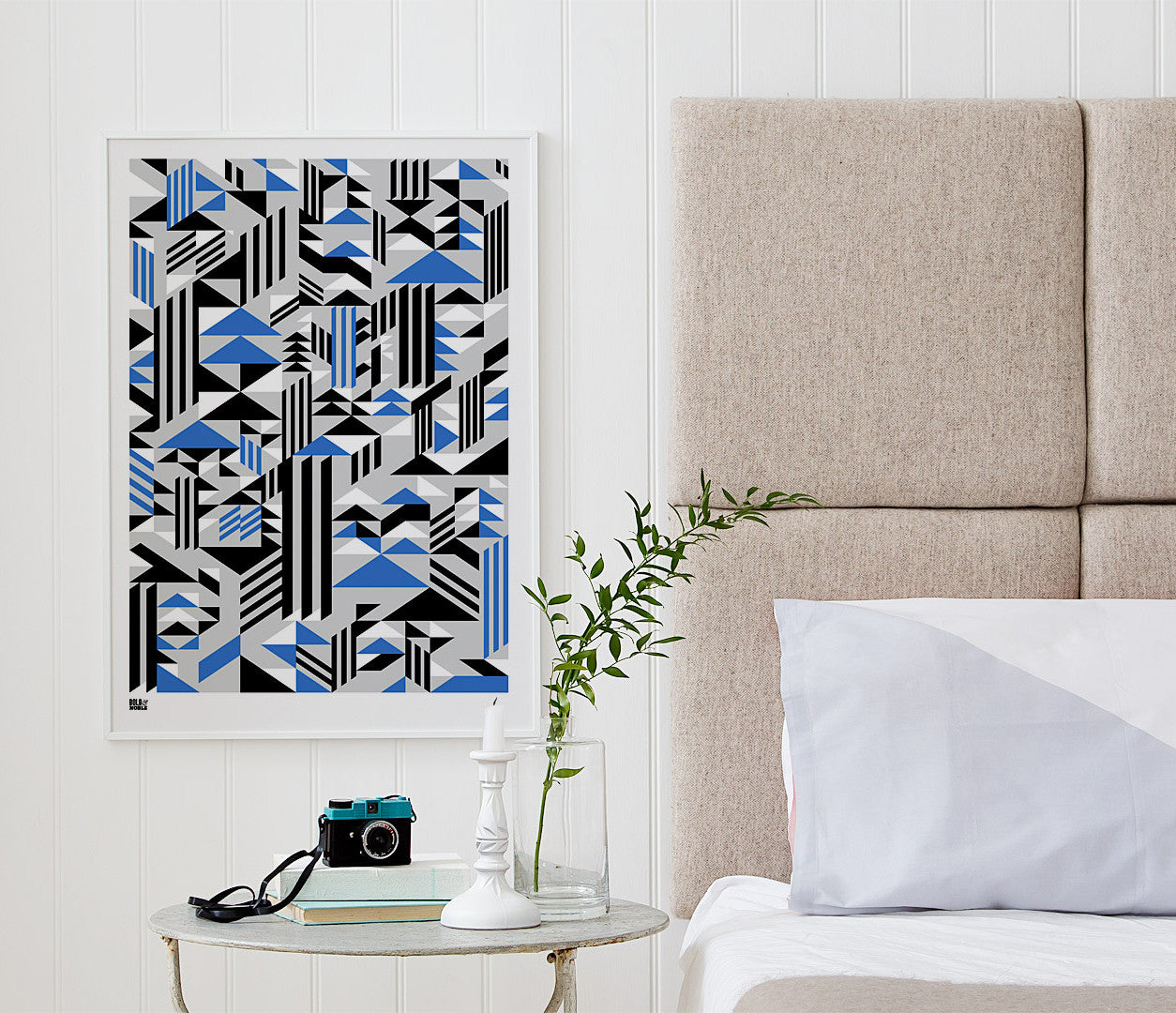 Wall Art ideas: Economical Screen Prints, Higher Geometric Screen Print in blue and grey
