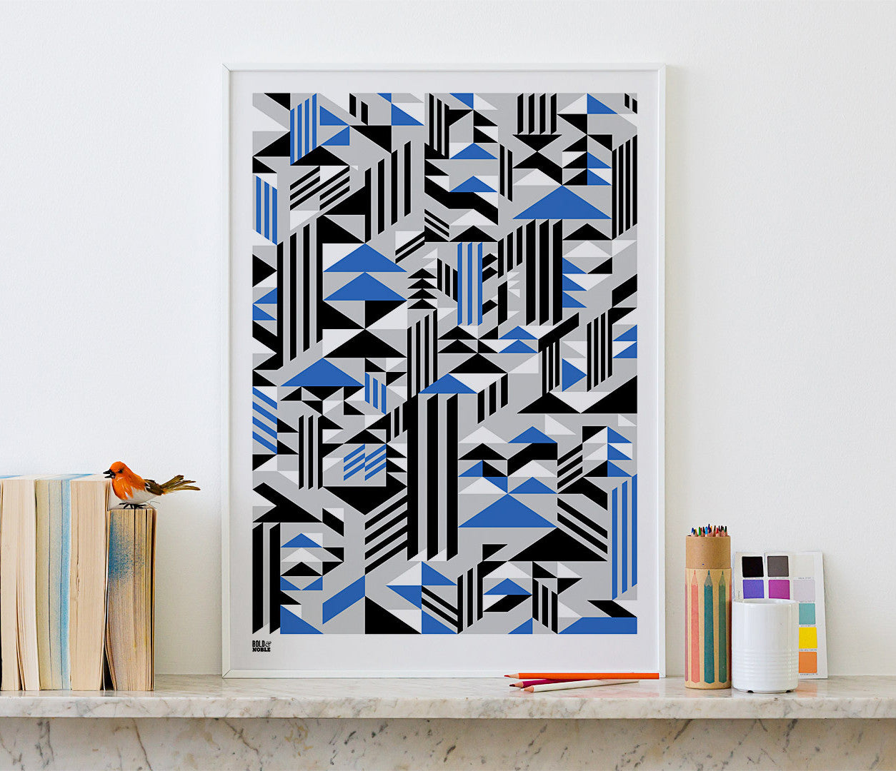 Pictures and Wall Art, Screen Printed Higher Geometric Screen Print in Blue and Grey
