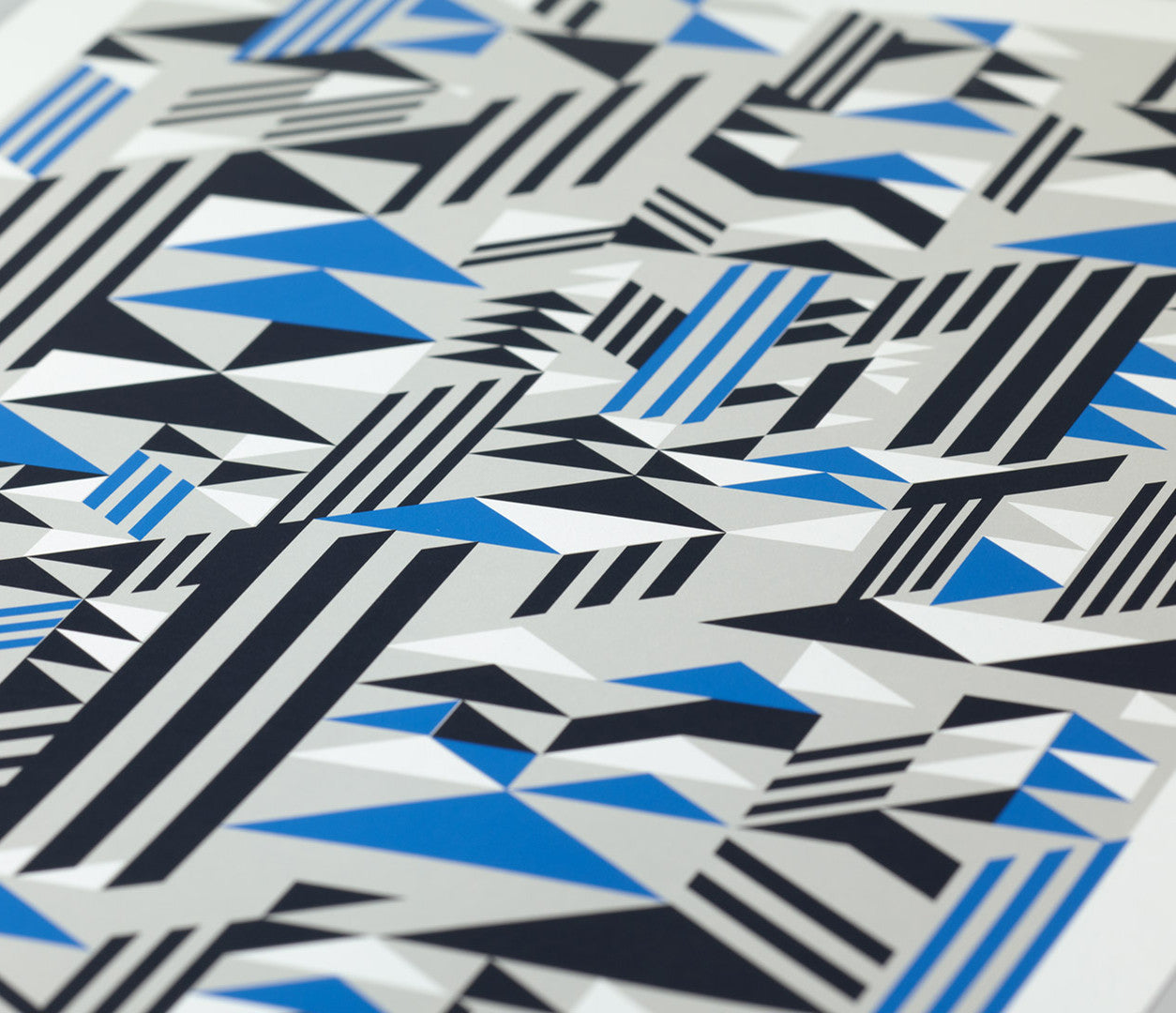 Close up of Higher Geometric Shapes in blue and grey, screen printed poster