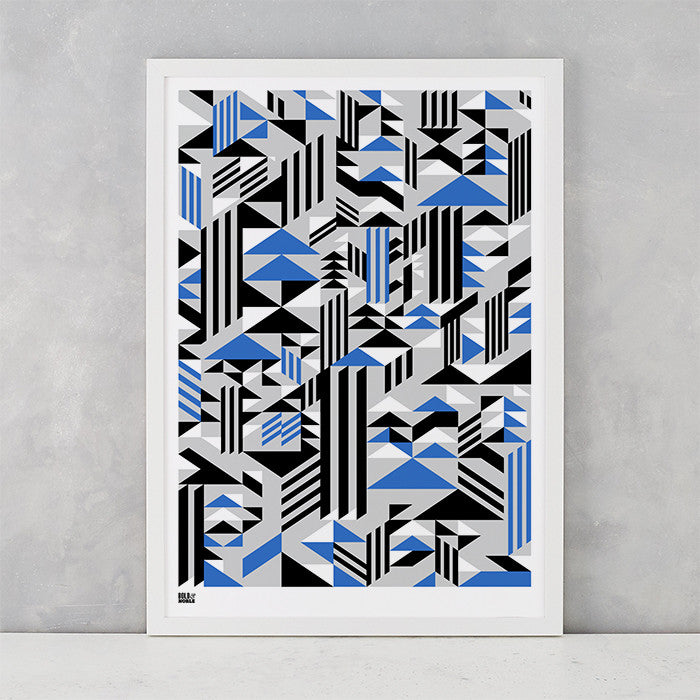 Geometric Higher Screen Print in blue black and grey, printed on recycled card, delivered worldwide
