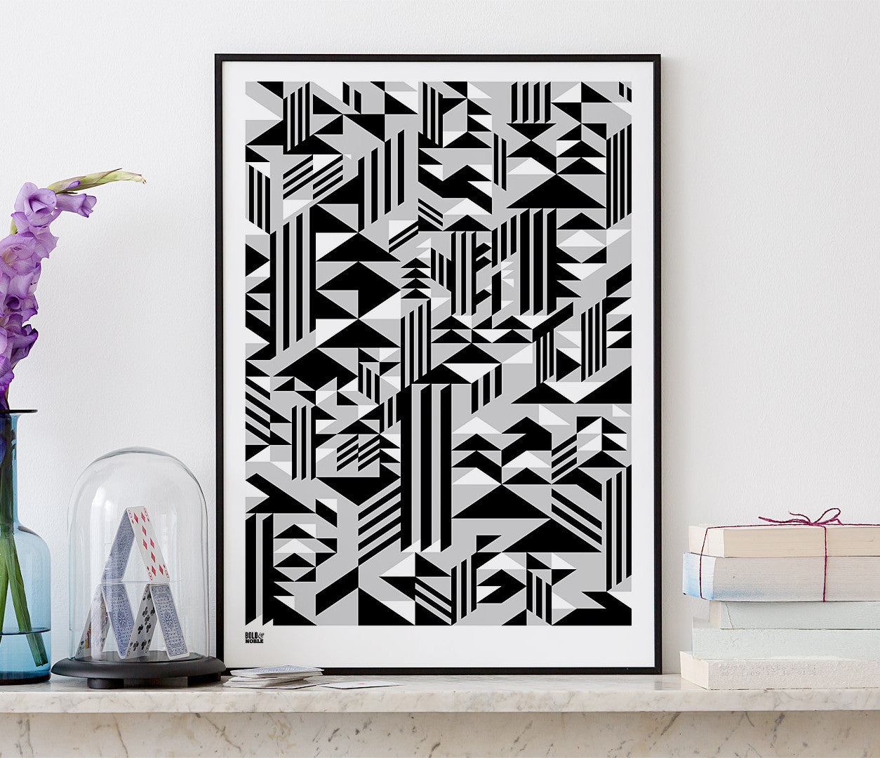 Wall Art ideas: Economical Screen Prints, Higher Geometric Screen Print in black and grey