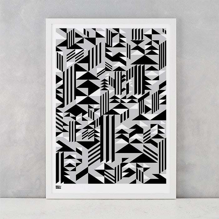 'Higher' Geometric Art Print in Monochrome