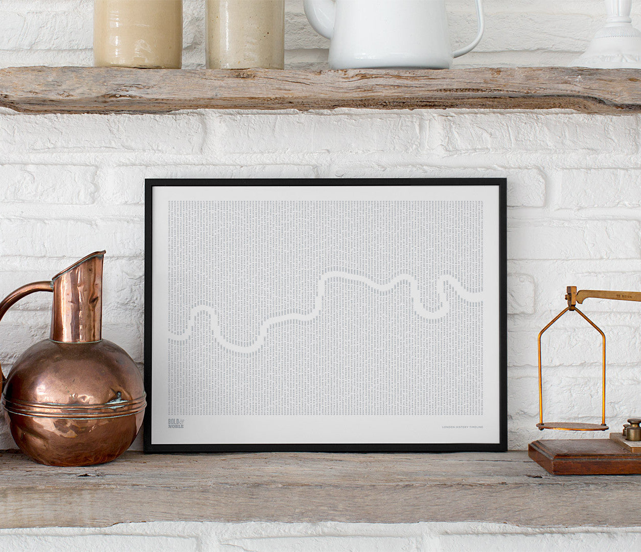 'London History Timeline' Print in Warm Grey