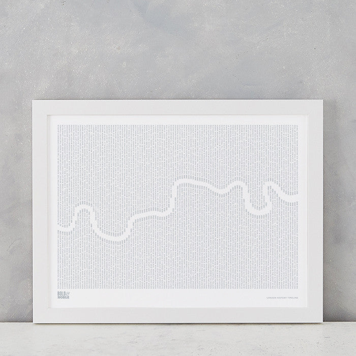 London History TImeline Print in Warm Grey, screen printed on recycled card, deliver worldwide