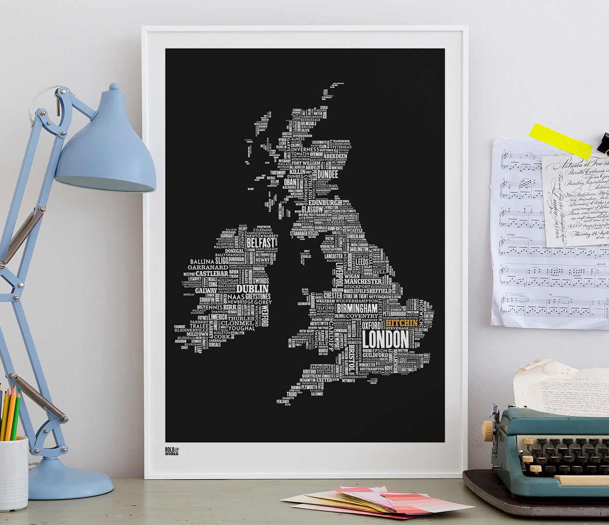 Wall Art ideas: Economical Screen Prints, UK type map limited edition with 'Hitchin' in gold