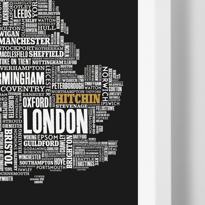 'Hitchin' Limited Edition UK Type Map Print in Gold