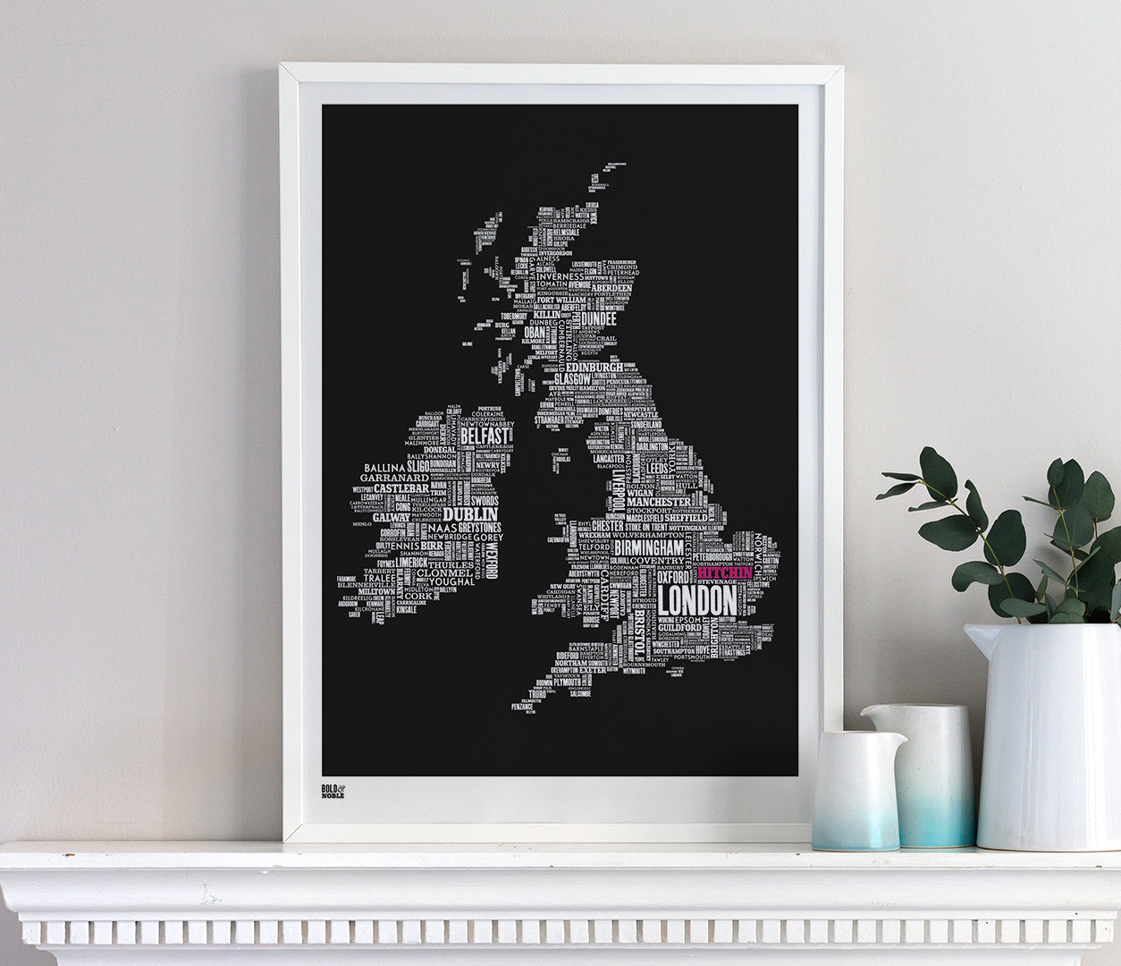 Wall Art ideas: Economical Screen Prints, UK type map limited edition with 'Hitchin' in pink