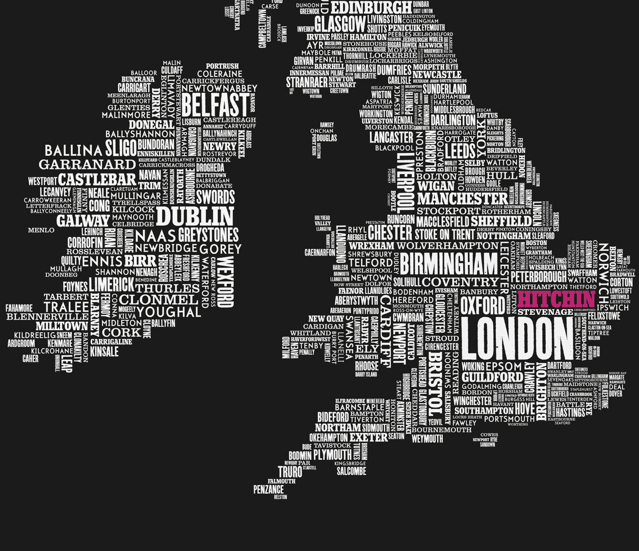 'Hitchin' Limited Edition UK Type Map Print in Bright Fuchsia