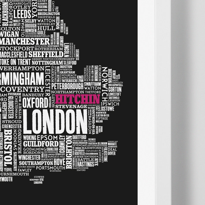Close Up of UK Map limited edition print in black with 'Hitchin' in pink, screen printed on recycled paper, delivered worldwide