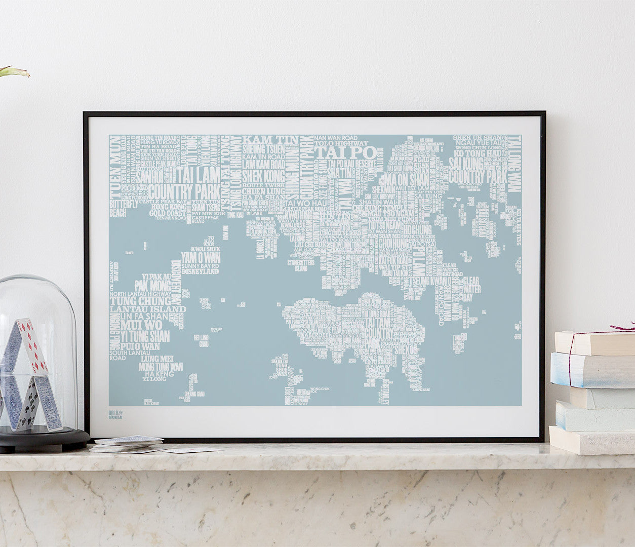 'Hong Kong' Type Map Print in Duck Egg Blue