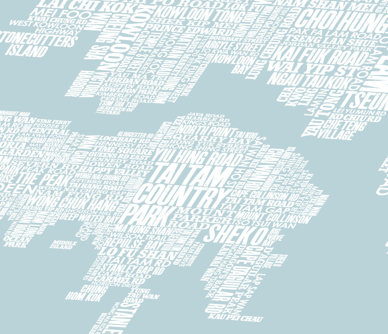 Close up of Hong Kong Type Map in Duck Egg Blue, screen printed poster