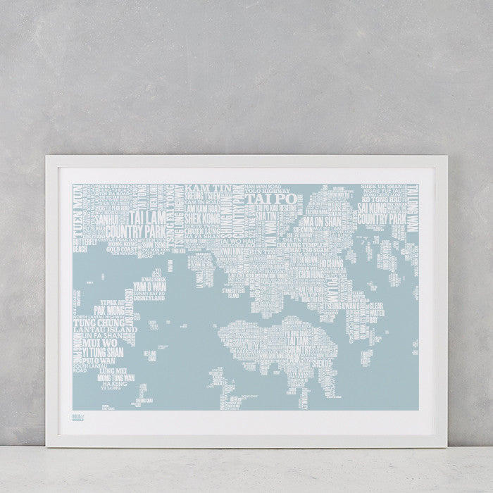 Hong Kong Type Map in Duck Egg Blue, screen printed on recycled card, delivered worldwide