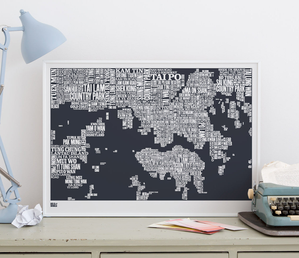 Wall Art ideas: Economical Screen Prints, Hong Kong Type Map in sheer slate