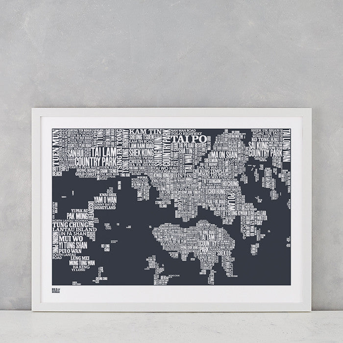 Hong Kong Type Map in Sheer Slate, screen printed on recycled card, delivered worldwide