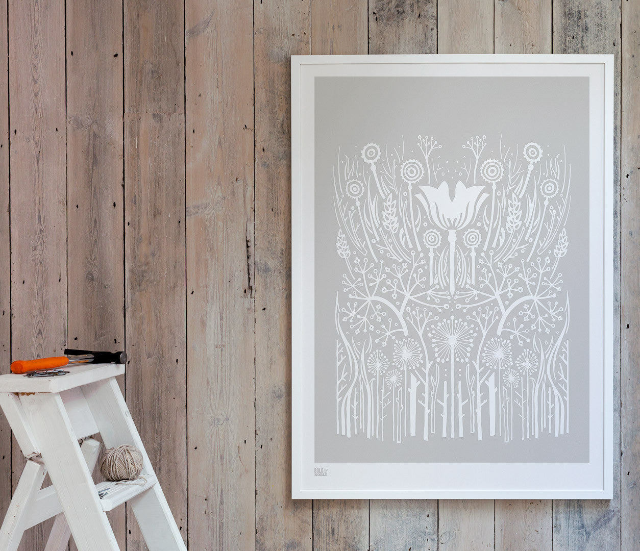 'Hedgerow' Art Print in Chalk Grey