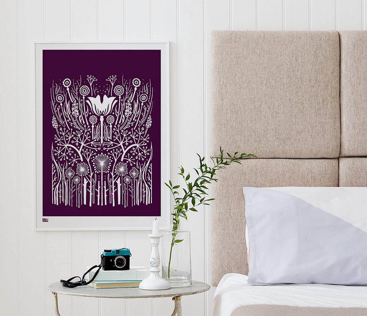 'Hedgerow' Art Print in Dark Mulberry