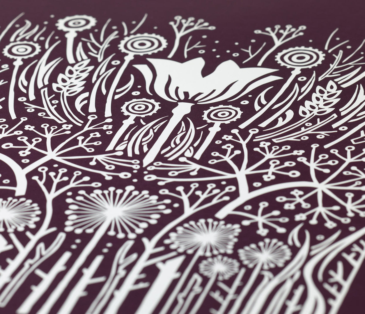 Close up of Hedgerow screen printed poster in Dark Mulberry