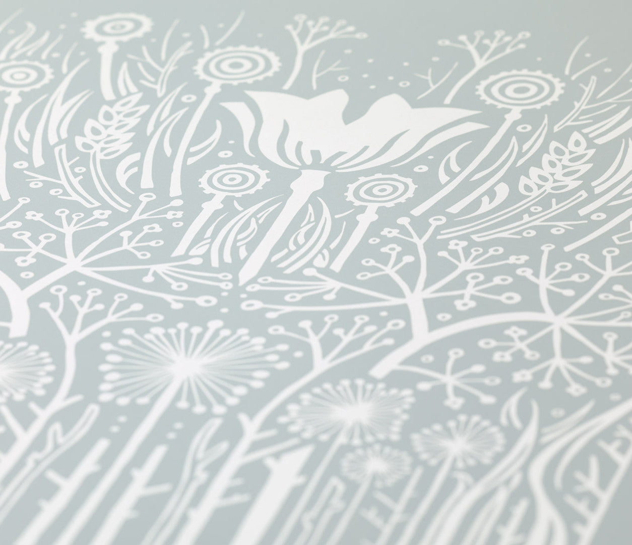 Close up of Hedgerow screen printed poster in Warm Grey