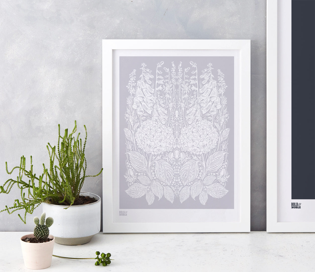 Wall Art ideas: Economical Screen Prints, Hydrangea Foxglove in Pink Grey
