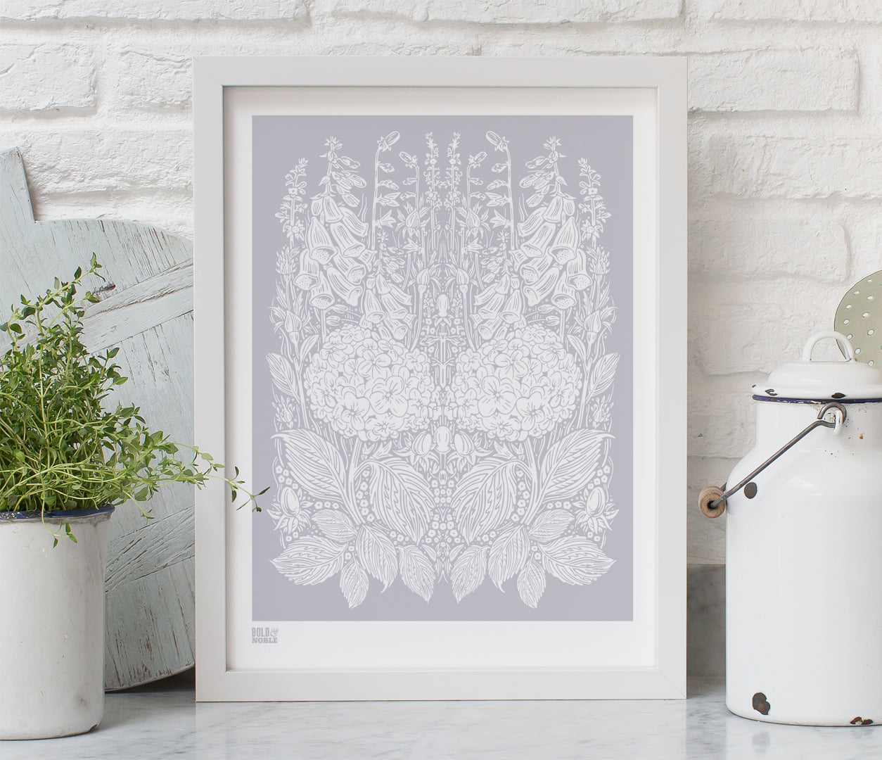 Pictures and Wall Art, Screen Printed Hydrangea Foxglove in Pink Grey