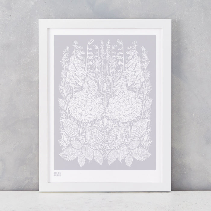 Hydrangea Foxglove screen print in Pink grey, screen printed on recycled card, delivered worldwide