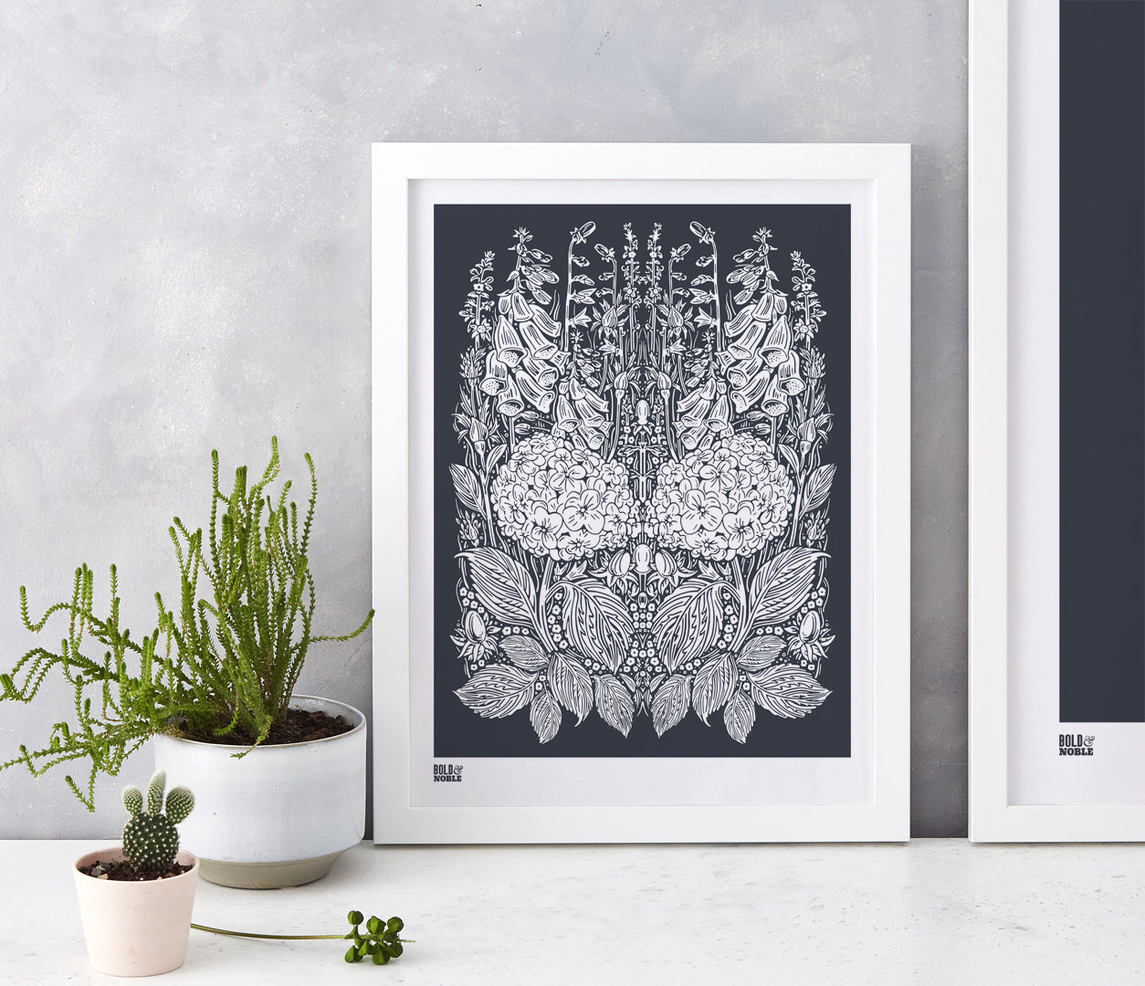 Wall Art ideas: Economical Screen Prints, Hydrangea Foxglove in Sheer Slate
