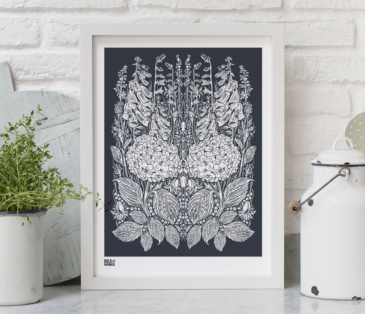 Pictures and Wall Art, Screen Printed Hydrangea Foxglove in Sheer Slate