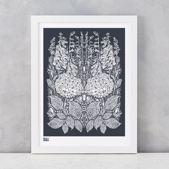 Hydrangea Foxglove screen print in Sheer Slate, screen printed on recycled card, delivered worldwide