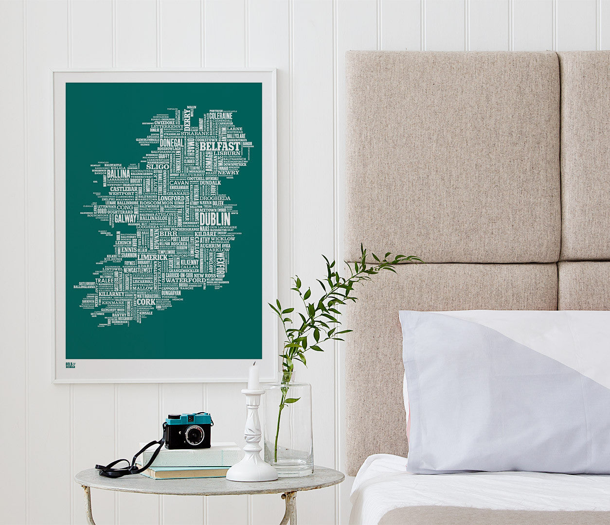 Wordle Ireland Map Wall Art Print, Screen Printed Poster in Emerald Green