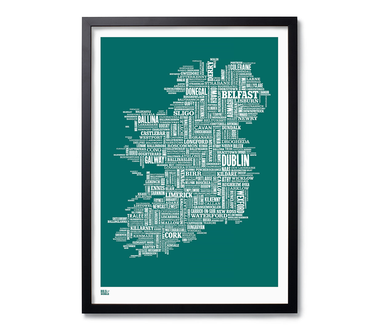 Print Map Of Ireland.Ireland Type Map Print In Deep Sea Green