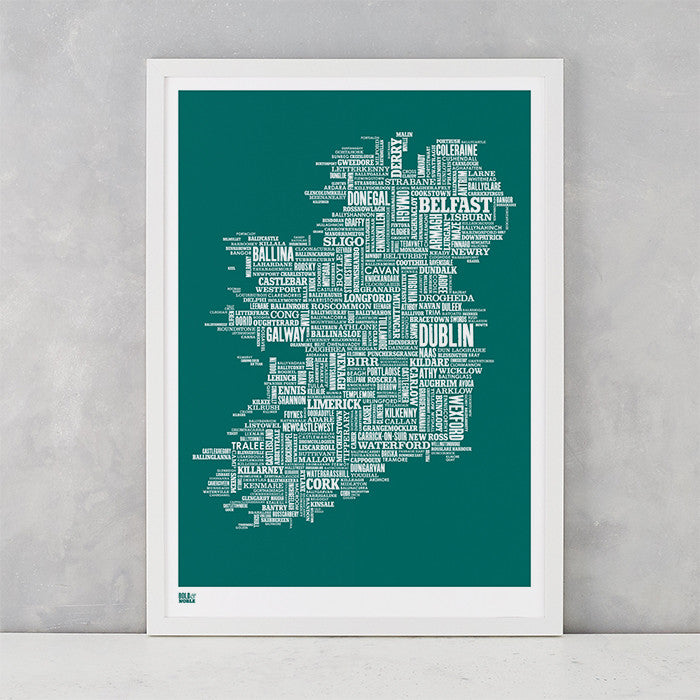 Ireland Type Map in Emerald Green, screen printed on recycled card, delivered worldwide
