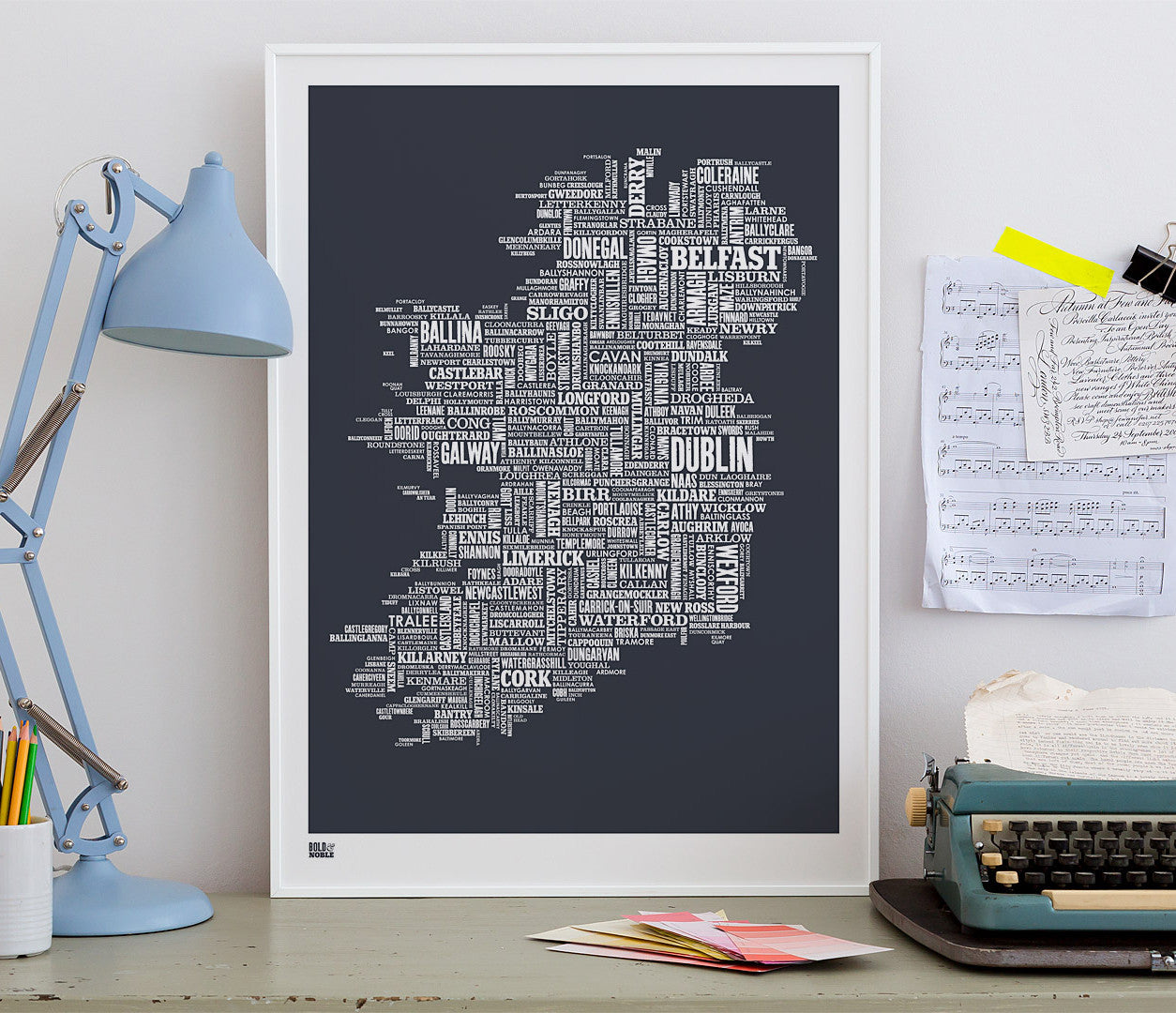 Empty Map Of Ireland.Ireland Type Map Print In Sheer Slate