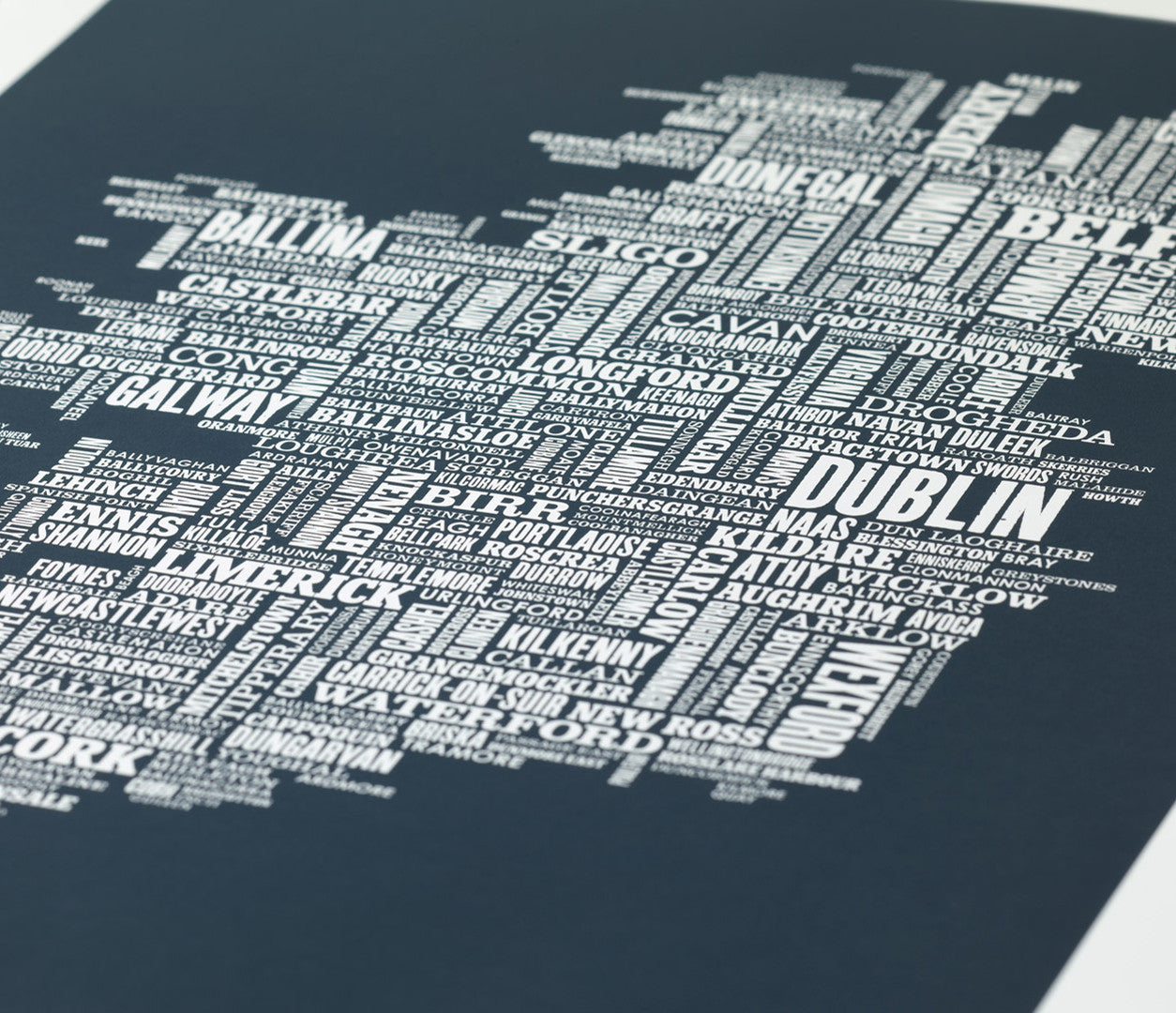 'Ireland' Type Map Print in Sheer Slate
