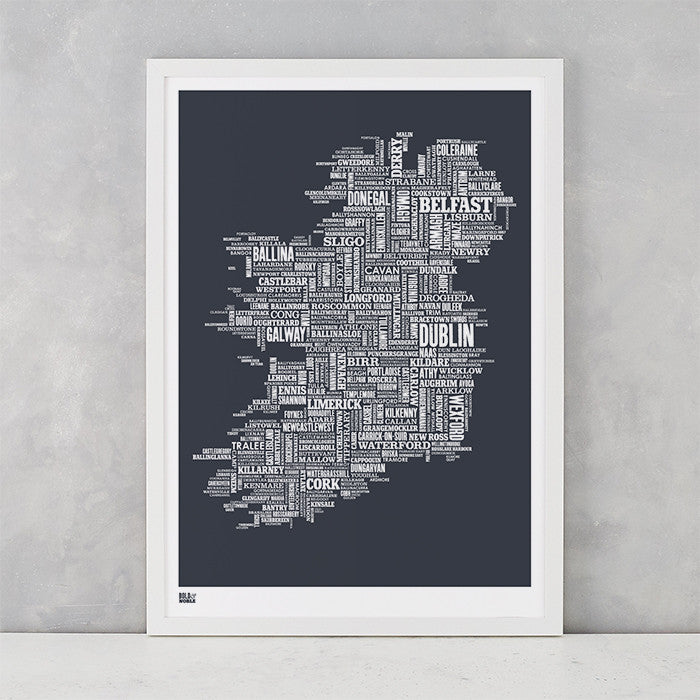 Ireland Type Map in Sheer Slate, screen printed on recycled card, delivered worldwide