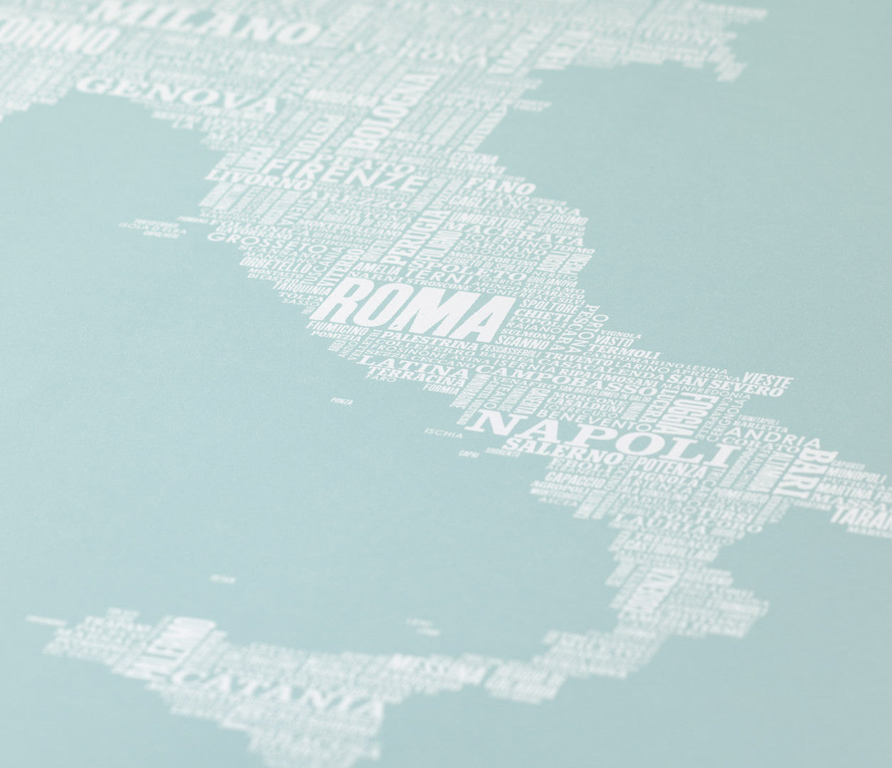 Close up of Italy Type Map in duck egg blue, screen printed poster