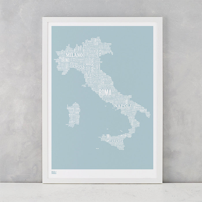 Italy Type Map in Duck Egg Blue, screen printed on recycled card, delivered worldwide