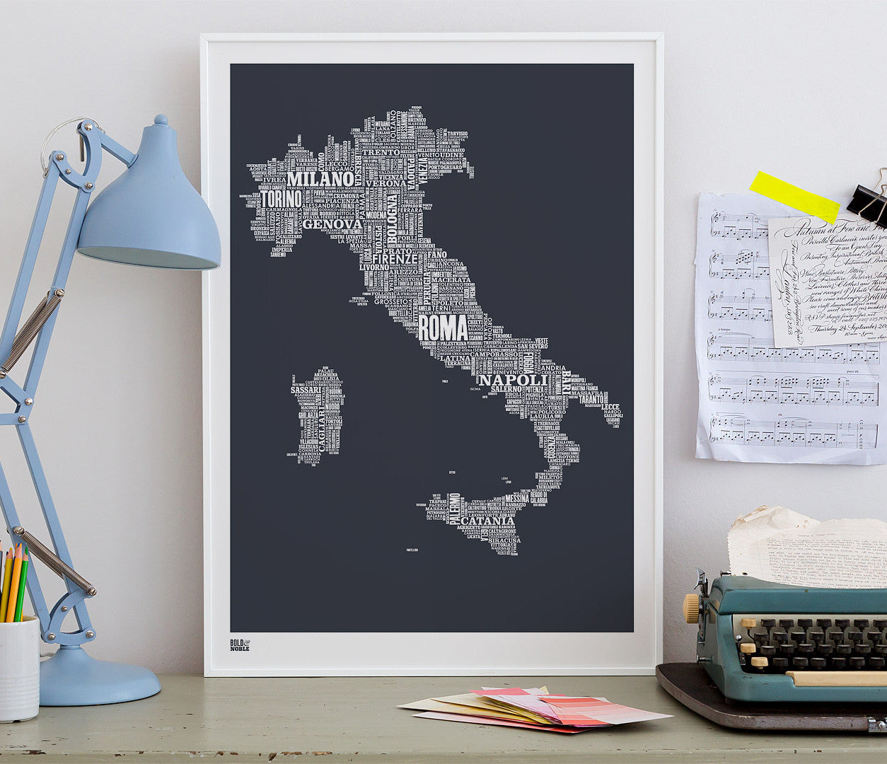 Wordle Italy Map Wall Art Print, Screen Printed Poster in Sheer Slate