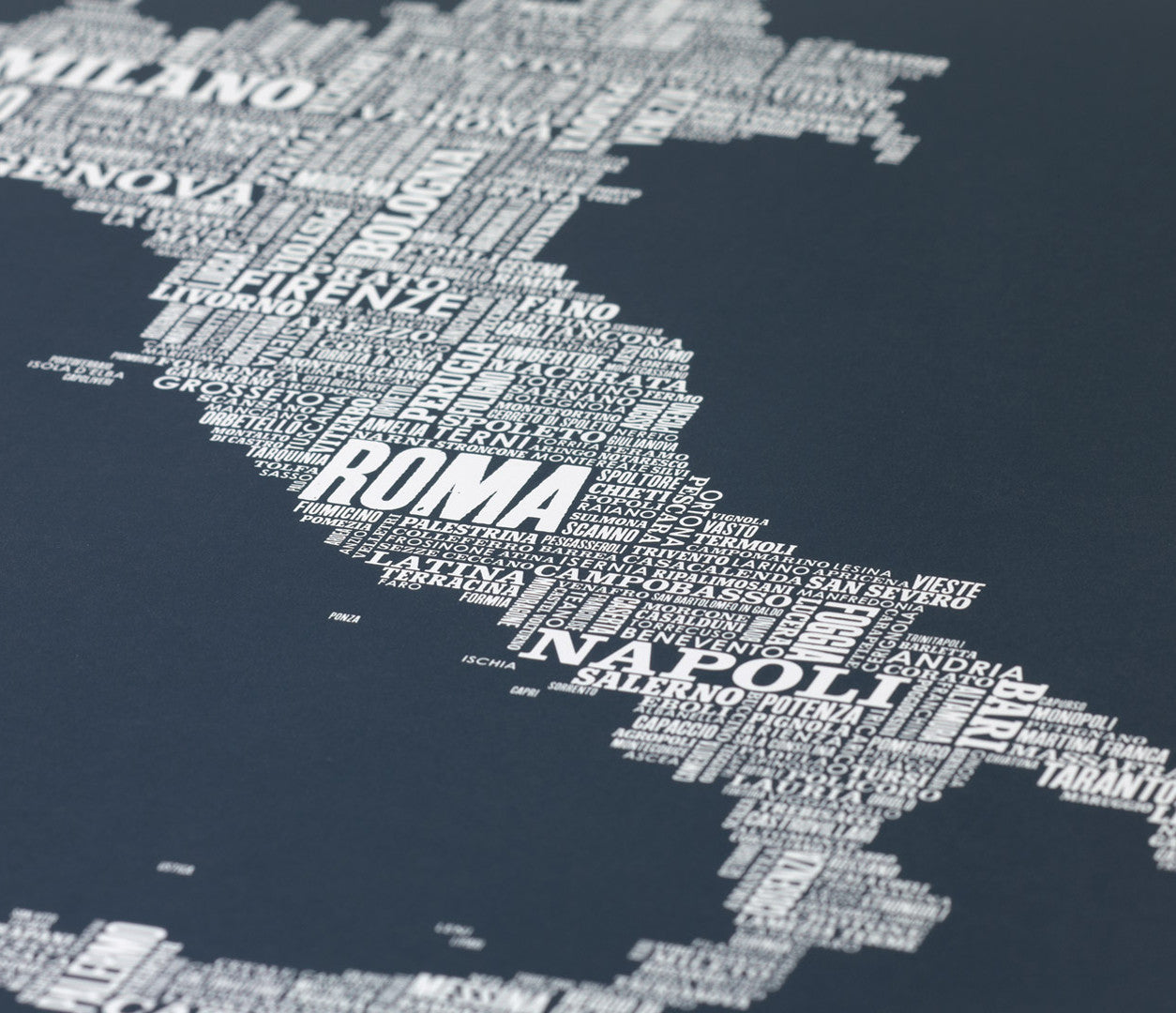 Close up of Italy Type Map in Sheer Slate, screen printed poster