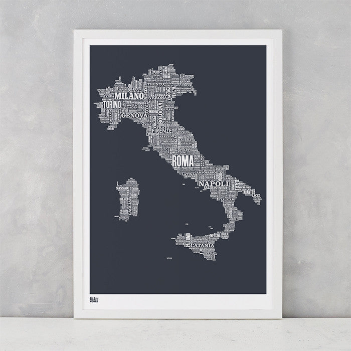 Italy Type Map in Sheer Slate, screen printed on recycled card, delivered worldwide