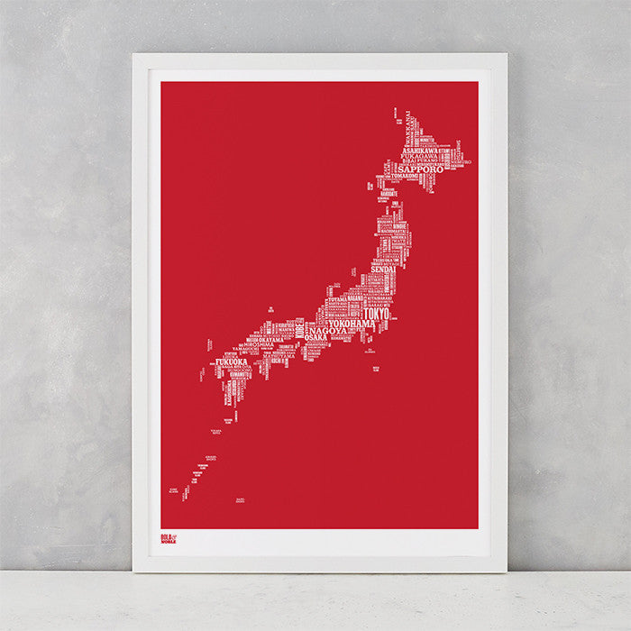 Japan Type Map in Poppy Red, screen printed on recycled card, delivered worldwide