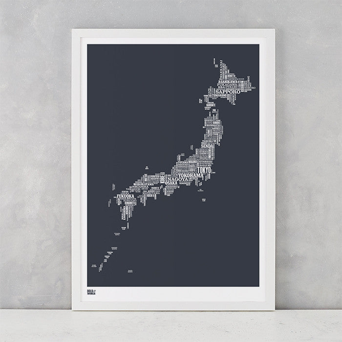 Japan Type Map in Sheer Slate, screen printed on recycled card, delivered worldwide