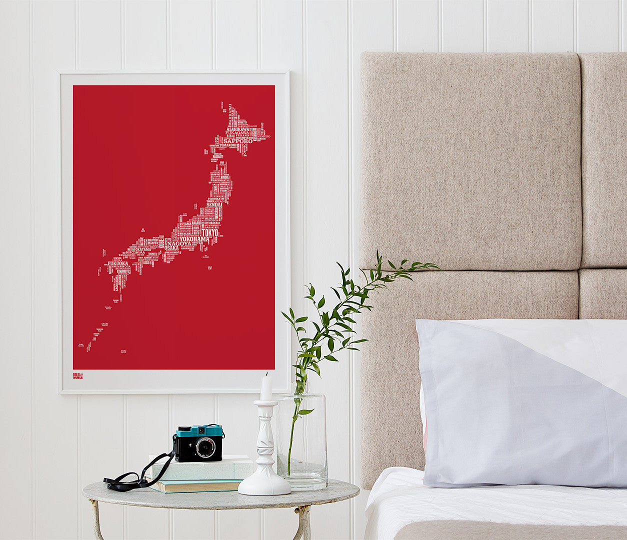 Wordle Japan Map Wall Art Print, Screen Printed Poster in Poppy Red