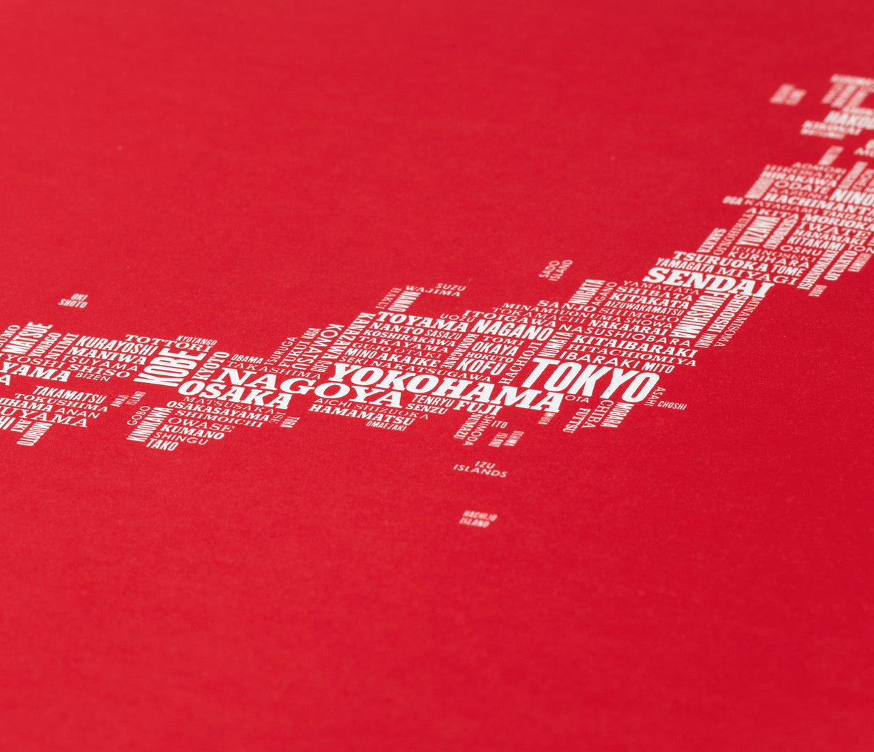 Close up of Japan Type Map in Poppy Red, screen printed poster
