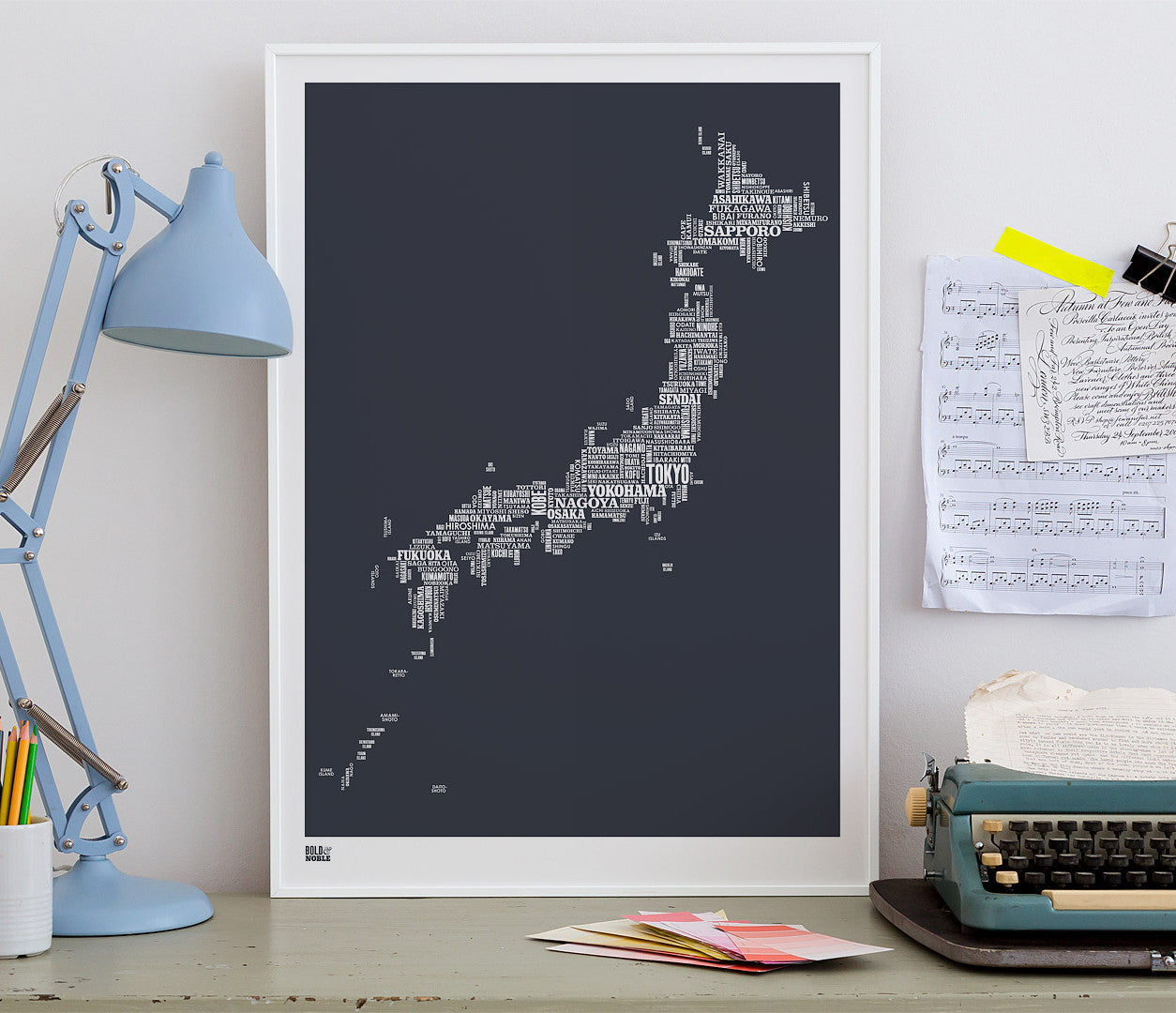 Wordle Japan Map Wall Art Print, Screen Printed Poster in Sheer Slate